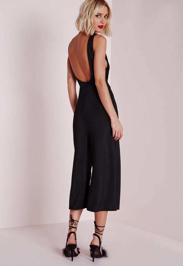 Low Side Culotte Jumpsuit Black