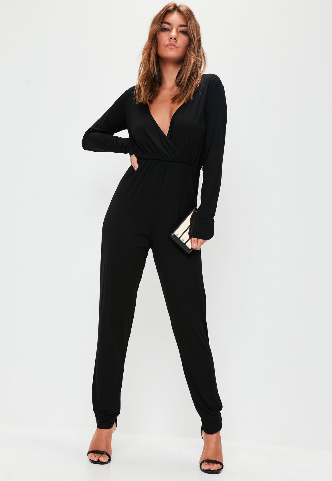 Wrap Long Sleeve Jumpsuit Black - Jumpsuits - Missguided