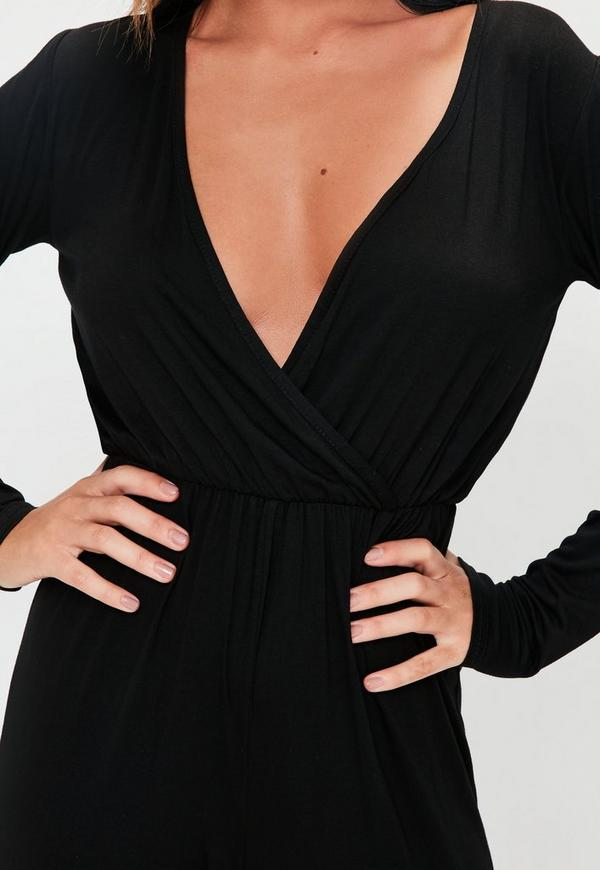 Wrap Long Sleeve Jumpsuit Black 16 Missguided