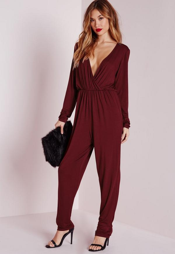 Wrap Long Sleeve Jumpsuit Burgundy
