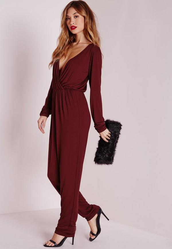 Wrap Long Sleeve Jumpsuit Burgundy | Missguided
