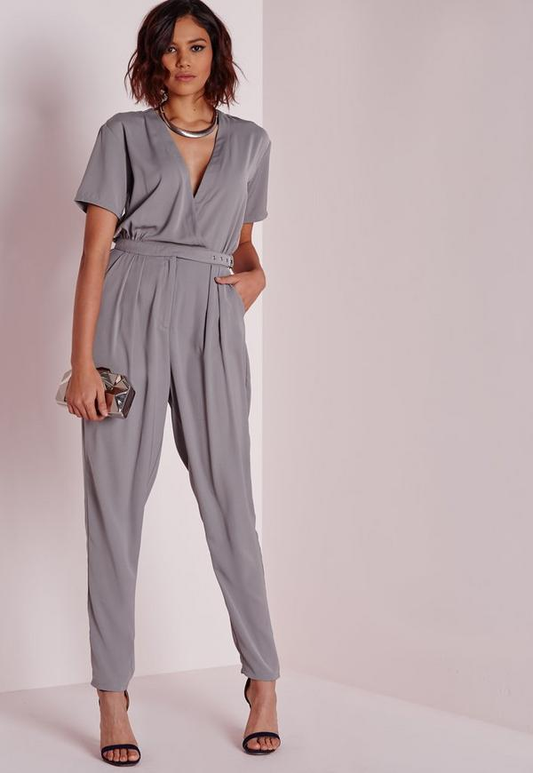 Belted Wrap Front Jumpsuit Grey