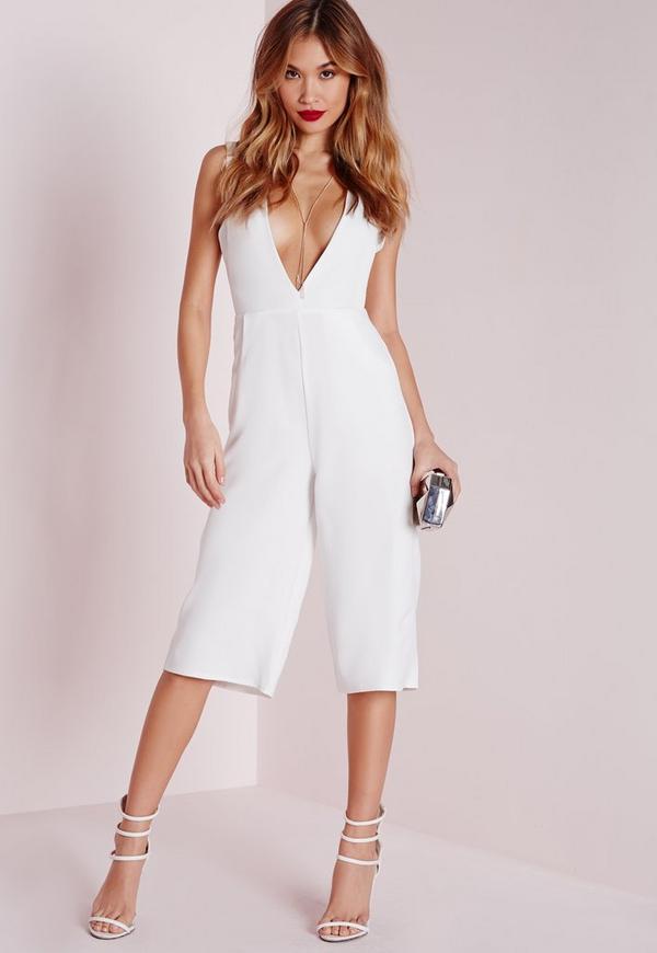 V Front Culotte Jumpsuit White