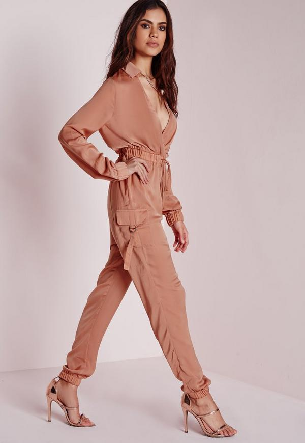 Satin Long Sleeve Jumpsuit Blush Missguided