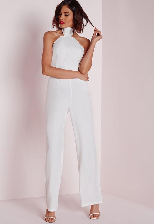 Cut Away High Neck Jumpsuit White