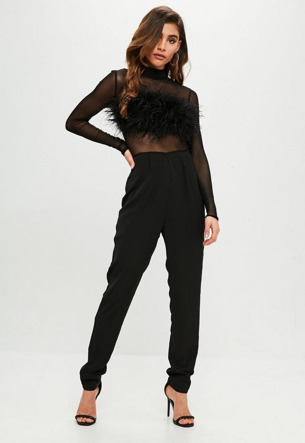 Feather Front Mesh Long Sleeve Jumpsuit Black Missguided