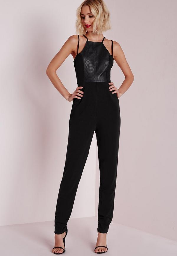 Croc Faux Leather Panel Jumpsuit Black