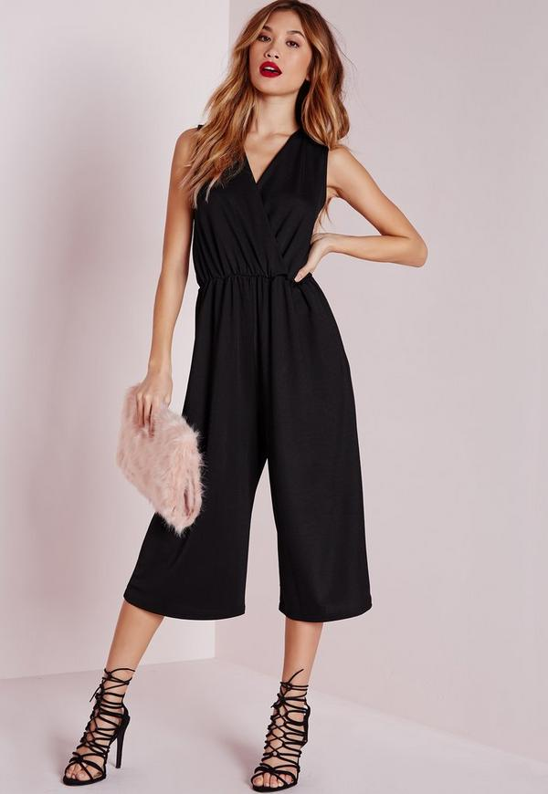 Wrap Front Culotte Jumpsuit Black