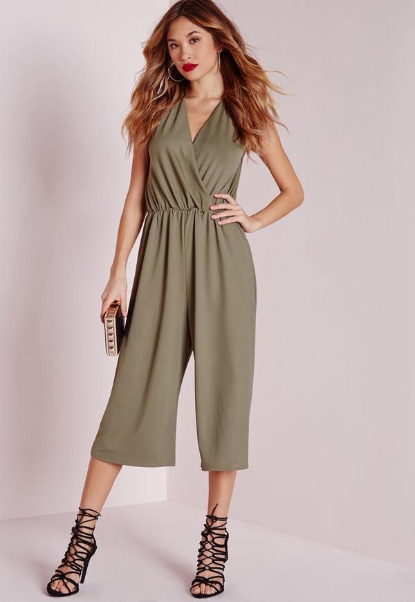 Wrap Front Culotte Jumpsuit Khaki