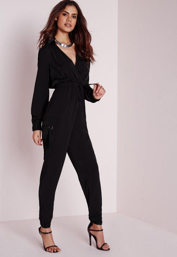 Long Sleeve Pocket Detail Jumpsuit Black