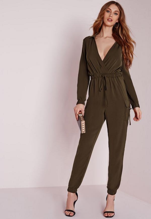 Long Sleeve Pocket Detail Jumpsuit Khaki