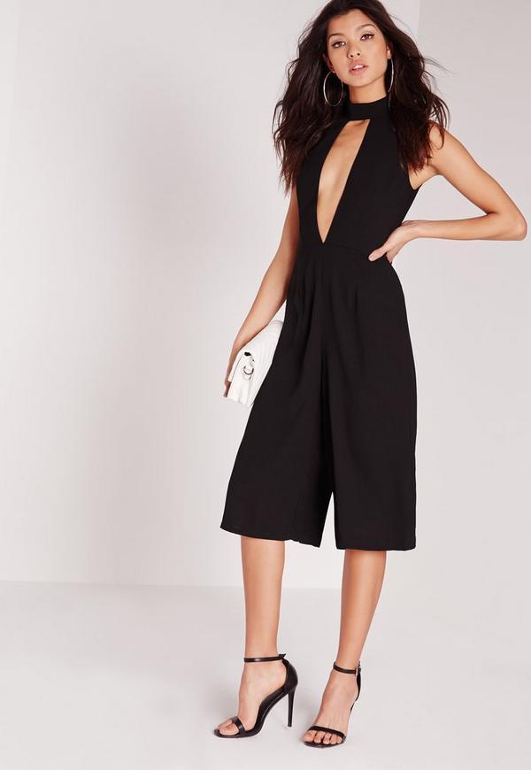 choker split front culotte jumpsuit black
