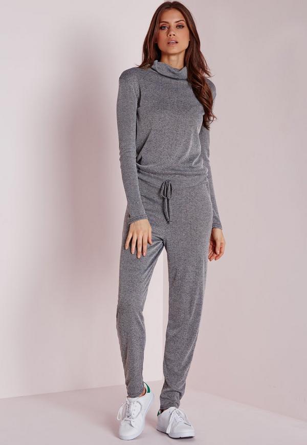 Long Sleeve Ribbed Drawstring Jumpsuit Grey