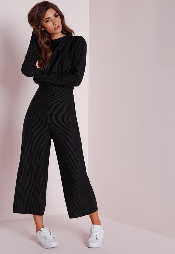 Long Sleeve Ribbed Culotte Jumpsuit Black | Missguided
