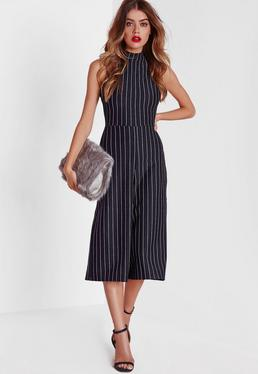 High Neck Pinstripe Culotte Jumpsuit Navy