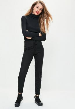 Long Sleeve Ribbed Drawstring Jumpsuit Black