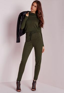 Long Sleeve Ribbed Drawstring Jumpsuit Khaki