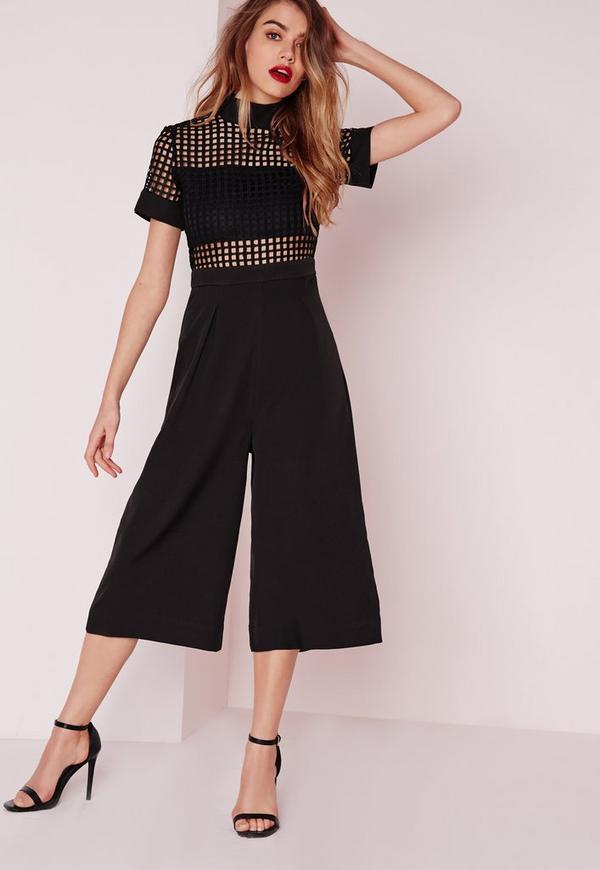 Grid Detail Culotte Jumpsuit Black