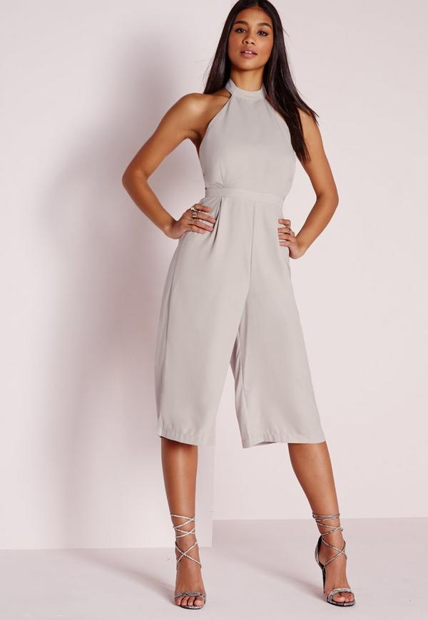 Halterneck D Ring Strap Culotte Jumpsuit Grey Missguided