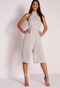 Halterneck D-Ring Strap Culotte Jumpsuit Grey