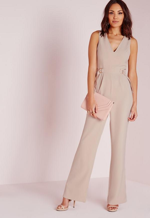 Sleeveless Double D-Ring Jumpsuit Nude