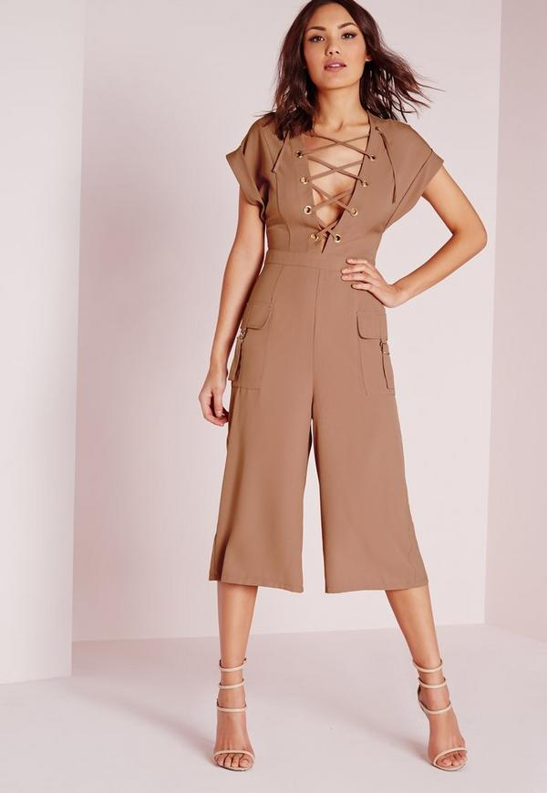 Lace Up Roll Sleeve Culotte Jumpsuit Blush