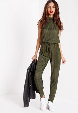 Roll Neck Skinny Rib Jumpsuit Khaki