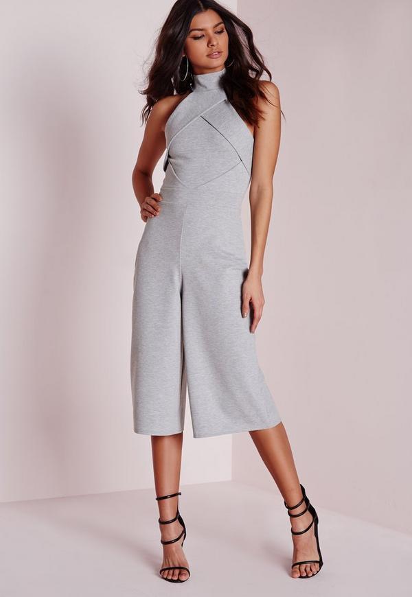 Origami Culotte Jumpsuit Grey