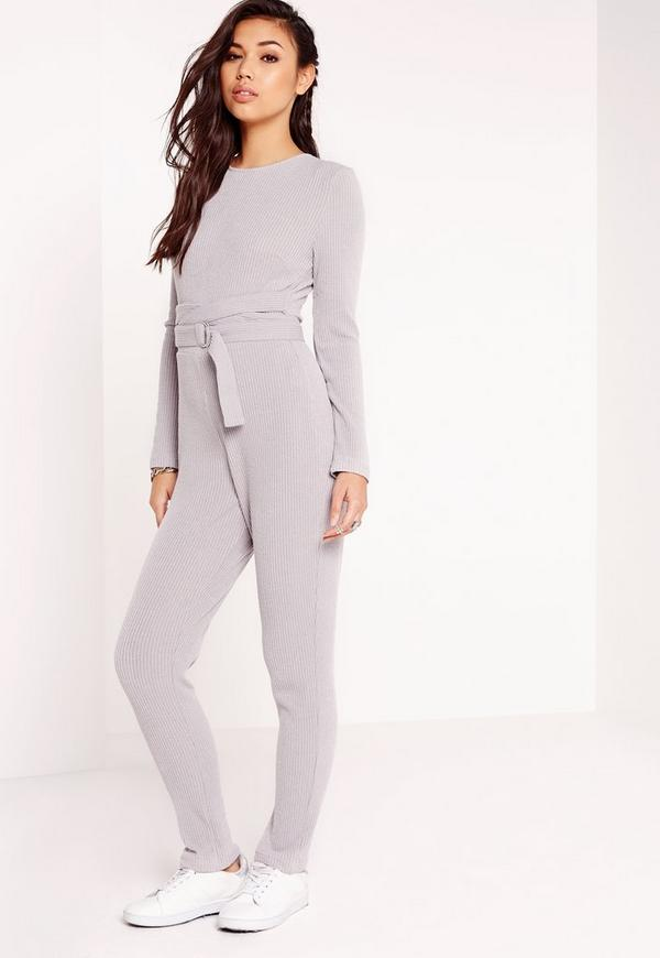 Ribbed Belt Detail Jumpsuit Grey