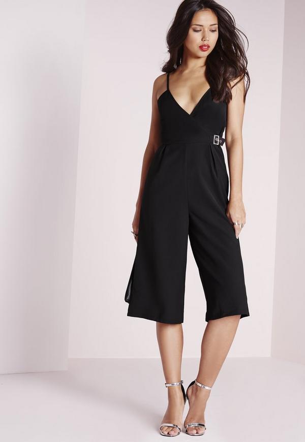 Crepe Strappy Culotte Jumpsuit Buckle Detail Black