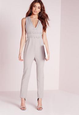 Stitch Detail Sleeveless Jumpsuit Grey