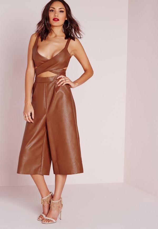 Faux Leather Cut Out Culotte Jumpsuit Brown