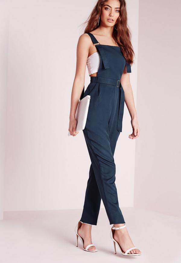 Strappy Dungaree D-Ring Jumpsuit Navy
