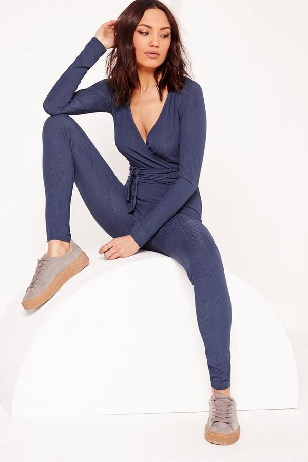 Ribbed Long Sleeve Wrap Jumpsuit Navy