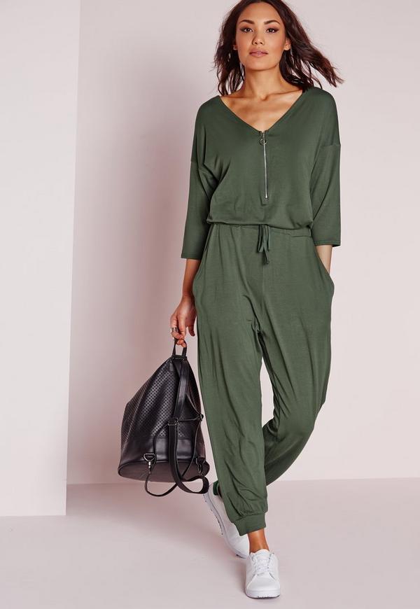 Jersey Zip Front Jumpsuit Khaki
