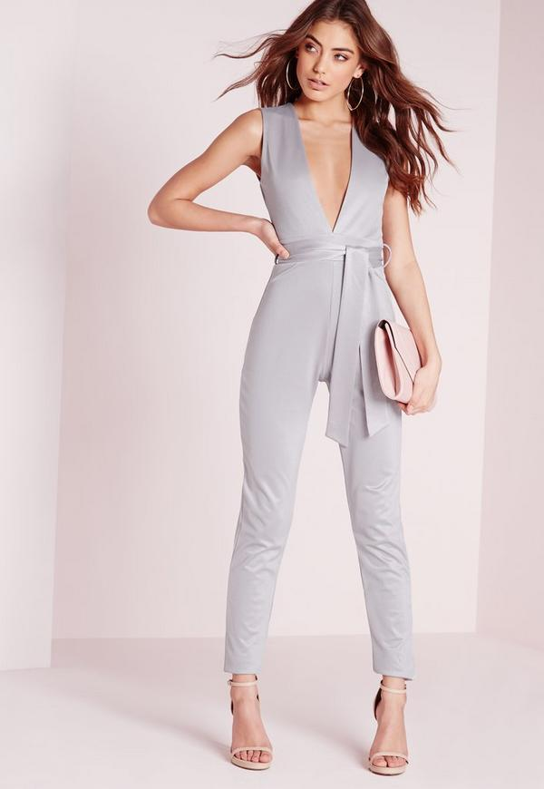 Tie Waist Sleeveless Jumpsuit Grey