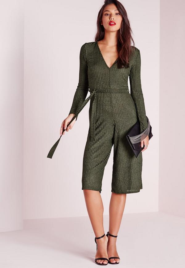 Ribbed Long Sleeve Culotte Jumpsuit Green