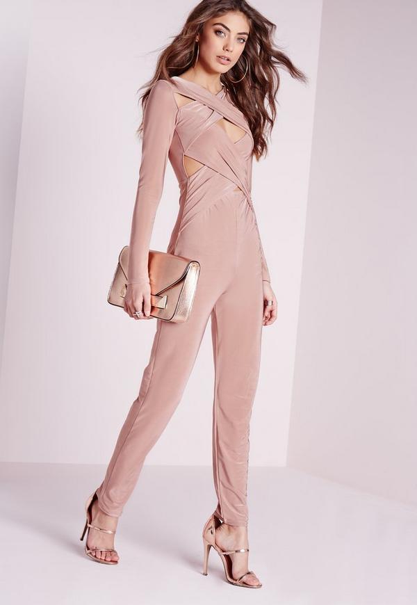 Slinky Long Sleeve Cross Front Strap Jumpsuit Pink