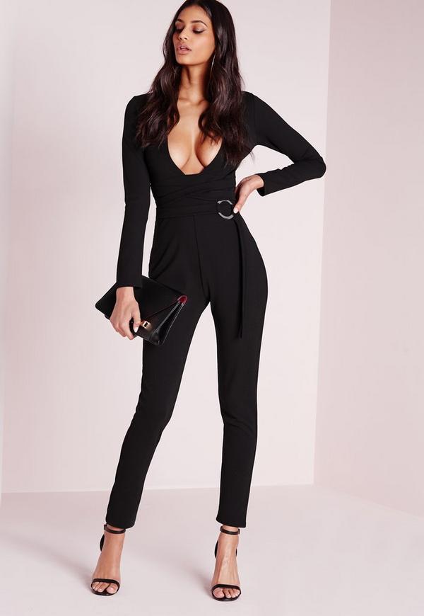 Crepe Long Sleeve Ring Detail Jumpsuit Black