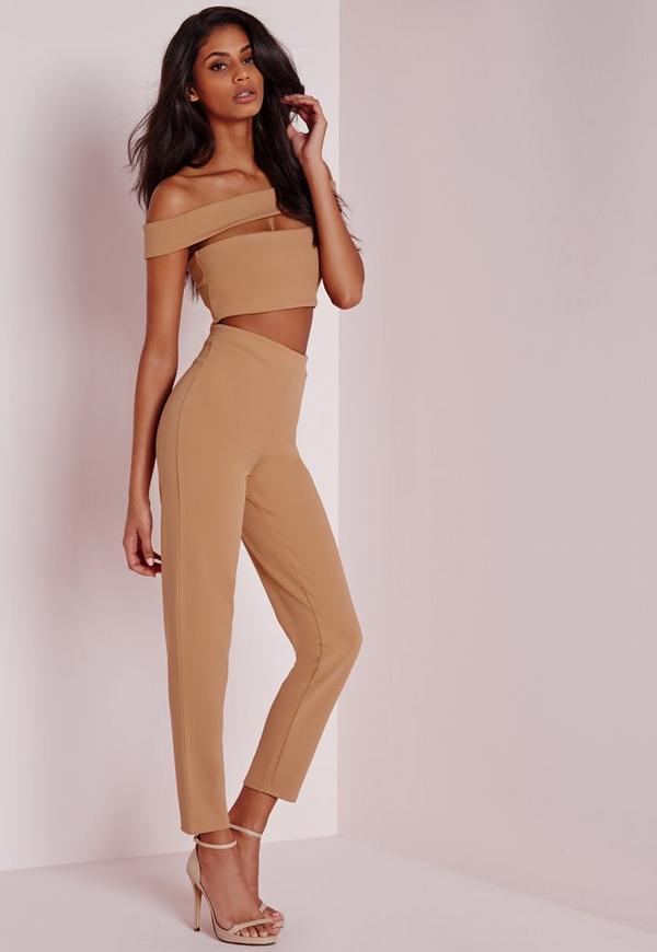 Bandage Bardot Tapered Leg Jumpsuit Camel