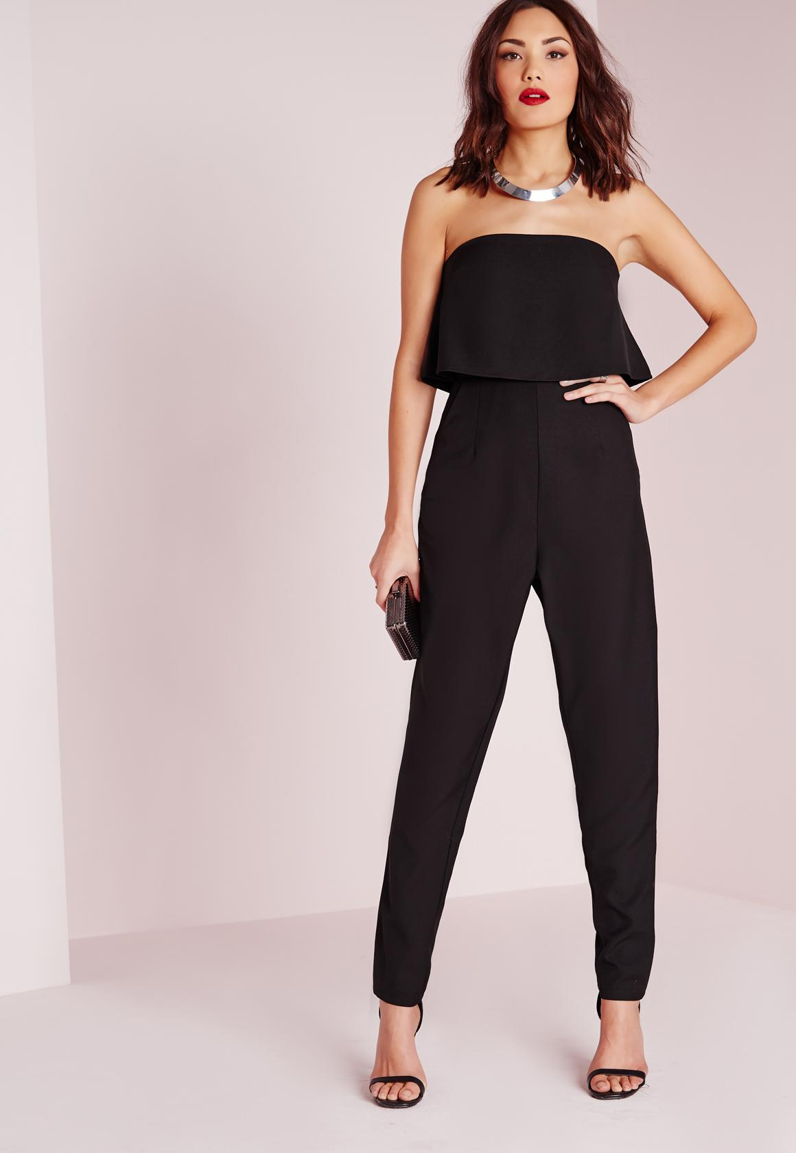 Double Layer Bandeau Jumpsuit Black - Jumpsuits - Bandeau ...