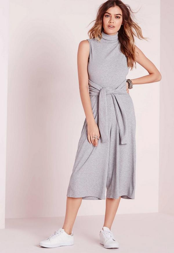 Ribbed Culotte Tie Waist Jumpsuit Grey