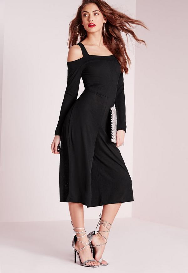 Ribbed Bardot Cold Shoulder Culotte Jumpsuit Black