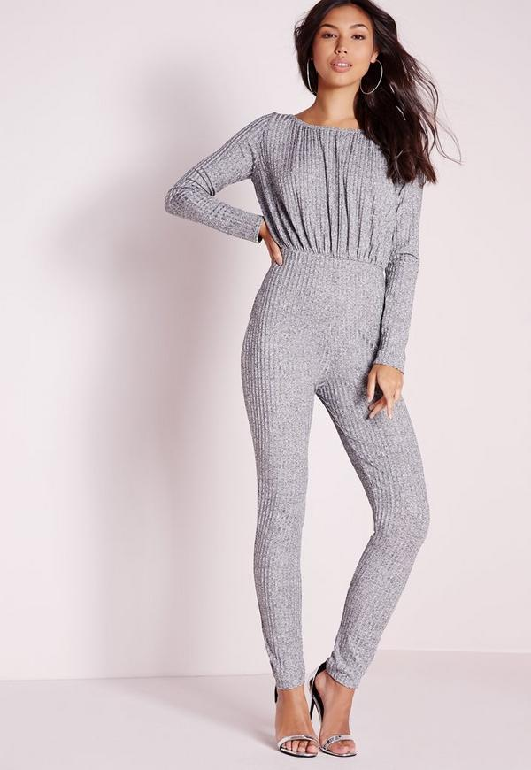 Knitted Rib Off The Shoulder Jumpsuit Grey
