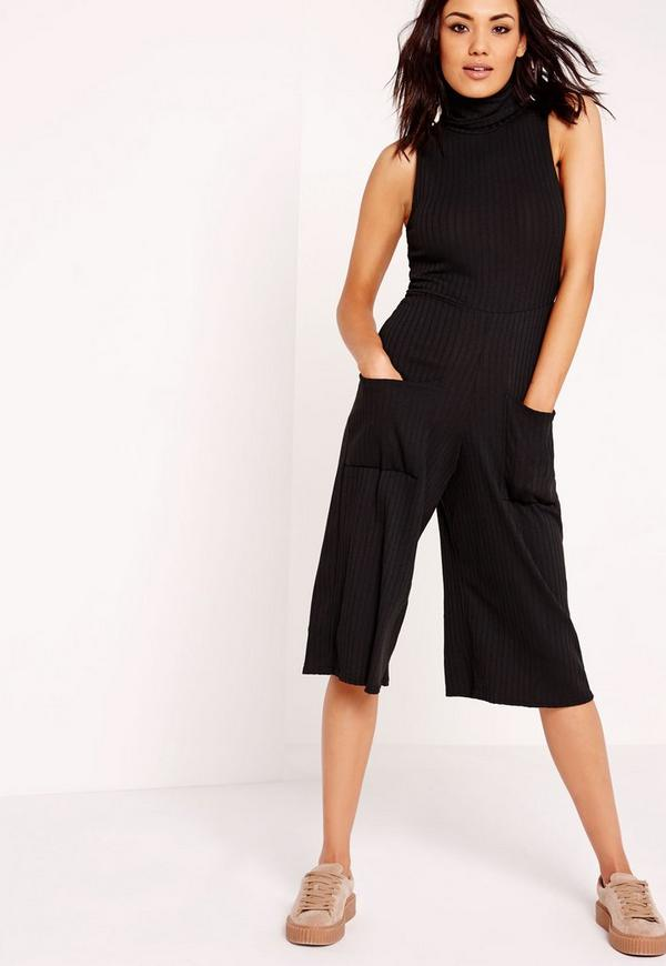 Knitted Rib Roll Neck Culotte Jumpsuit Black