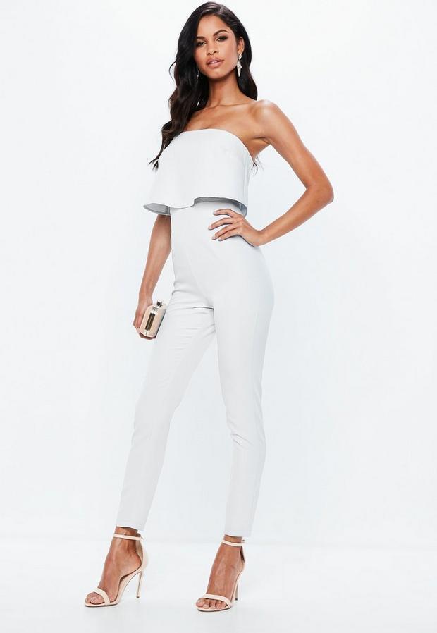3a613dbd6ca Bandeau Double Layer Jumpsuit White