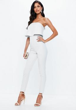White Bandeau Double Layer Jumpsuit