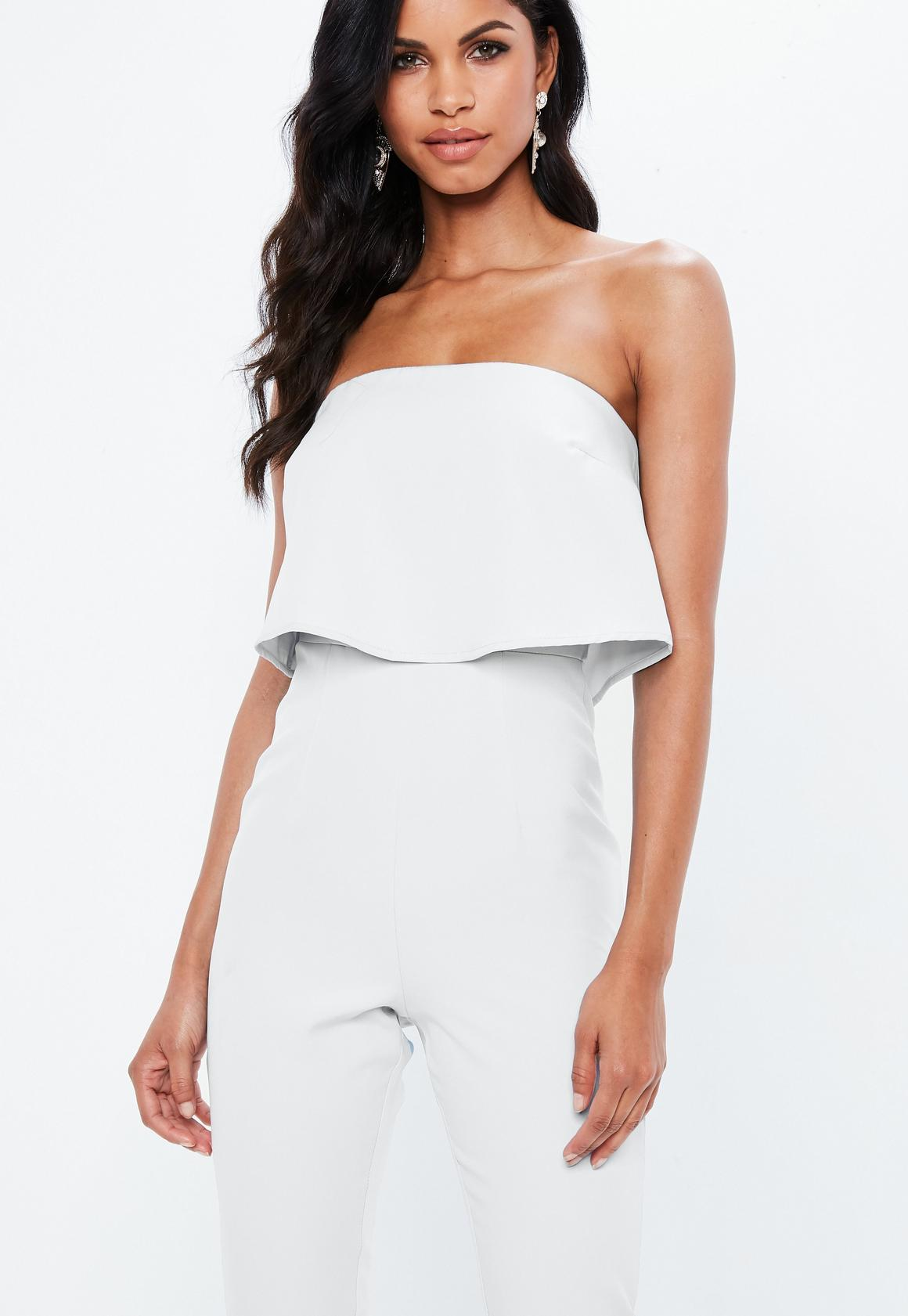 d1f5422b692 Missguided - Bandeau Double Layer Jumpsuit White