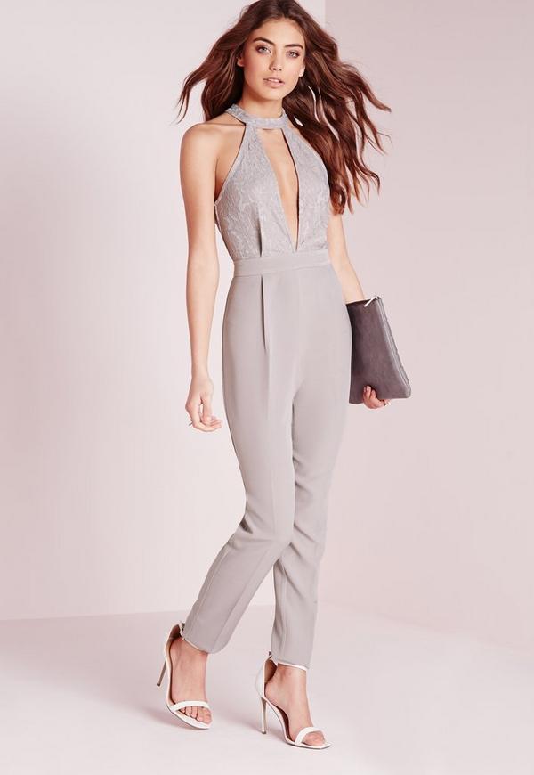 lace choker split front jumpsuit grey