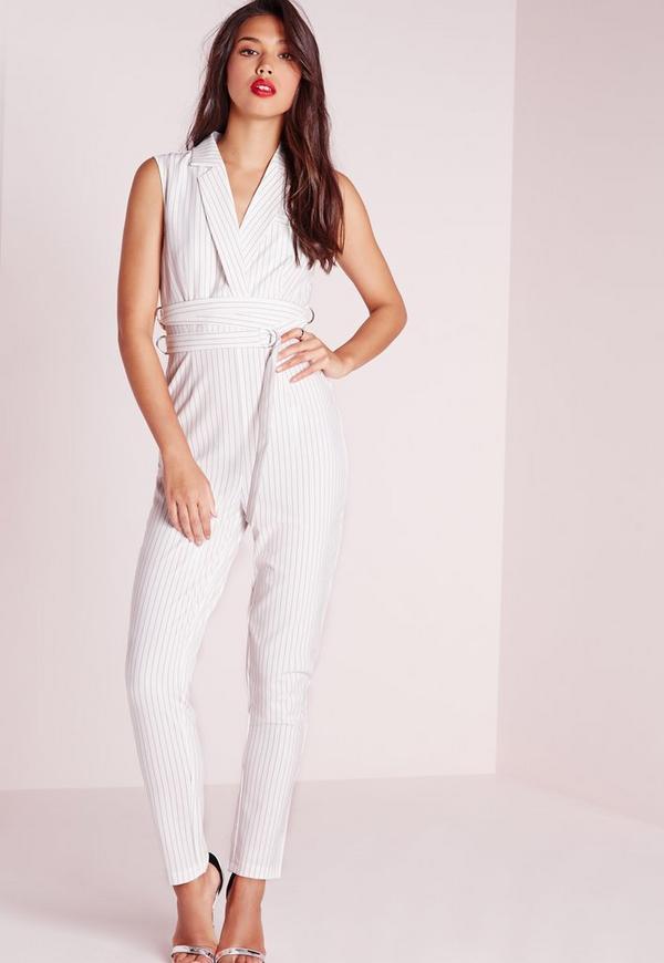 Crepe Pinstripe Belt Detail Jumpsuit White
